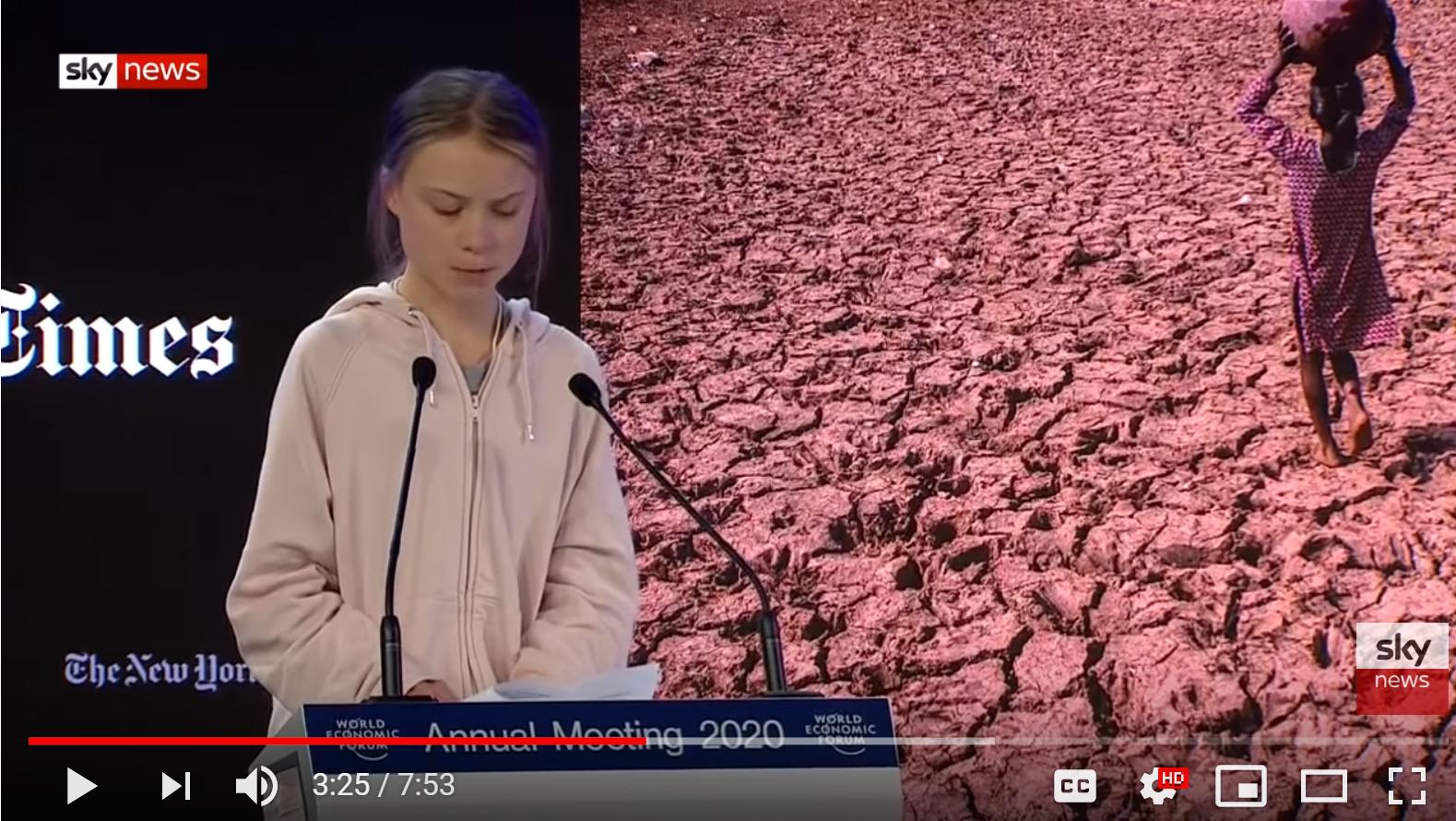 Greta speaks at World Economic Forum – Davos Jan 2020